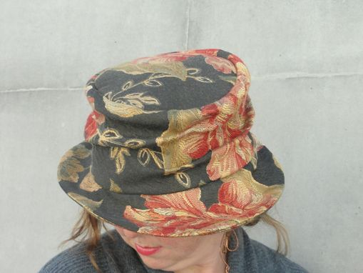 Custom Made Women's Edwardian Floral Printed Hat - Period Hat With Asymmetrical Brim-1920'S Vintage Inspired- Cloche Hood- Turn Of The Century