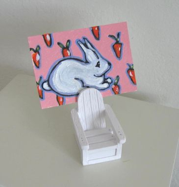 Custom Made Aceo, Bunny Rabbit Adirondack Chair Place Card Holder