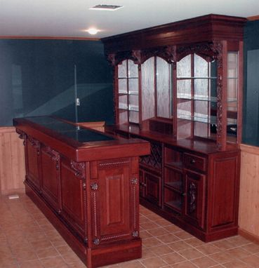 Custom Made Oak Bar And Back Bar