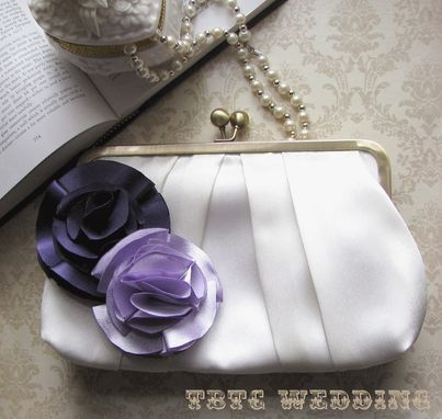 Custom Made Pleated Satin Wedding Clutch Purse With Handmade Flower Accents