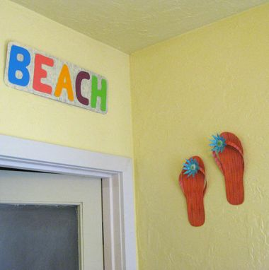 Custom Made Metal Flip Flop Art - Pair  - Upcycled Metal Wall Sculpture Beach House Art