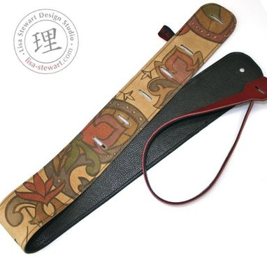 Custom Made Leather Suede Custom Guitar Strap - Personalized Calligraphic Image