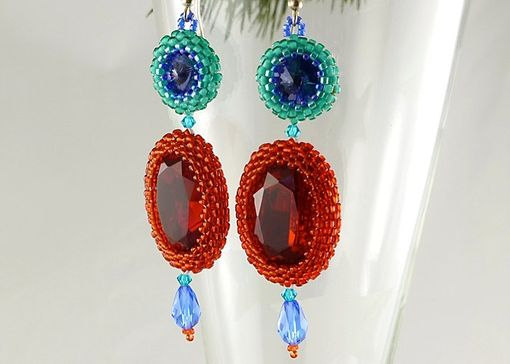 Custom Made Contemporary Hand Beaded Crystal Dangle Earrings