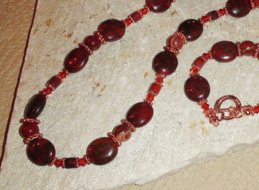 Custom Made Brecciated And Red Flake Jasper Necklace With Swarovski Crystals In Copper