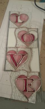 Custom Made Stained Glass Love In Hearts Panel