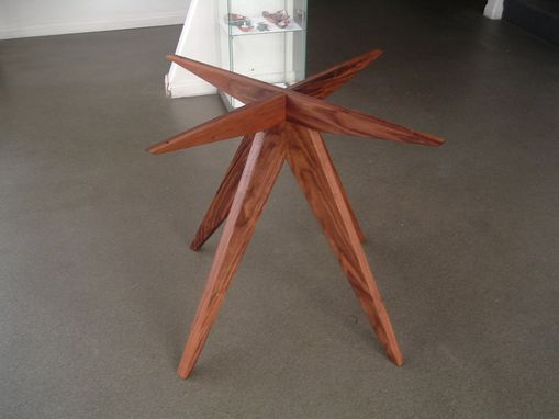 Custom Made 48 Inch Diameter Solid Walnut (60s?) Modern Dining Table