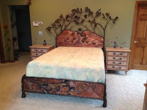 Custom Made Bed With Oak Tree And Blue Birds