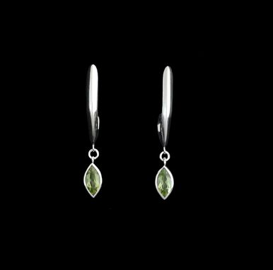 Custom Made Pointed Hoops With Peridot Drops
