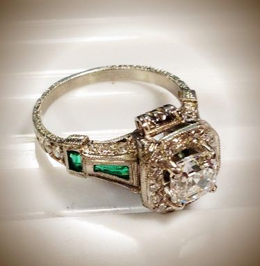 Custom Made Art Deco Diamond And Matched Emerald Ring