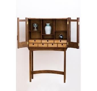 Custom Made Walnut Curio Cabinet