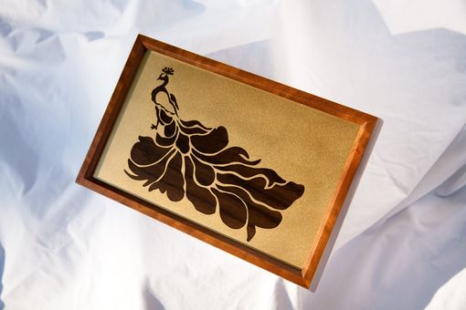 Custom Made Peacock Keepsake Box Indian Rosewood Inlay In Brass