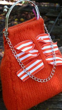 Custom Made Orange Is The New Black Cocktail Bag With Ribbon Trim And Metal Handle