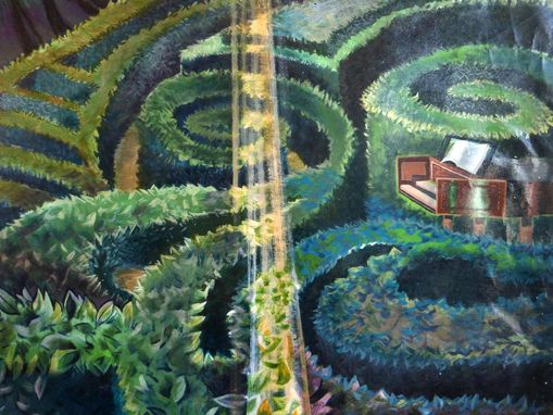 Custom Made Topiary Hedge Nyc Muralist Maze Eco Art Painting Commission With Harpsichord & Chair
