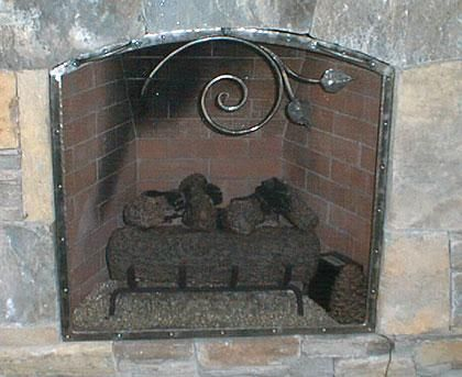 Custom Made Arch Top Scroll Leaf Fireplace Screen