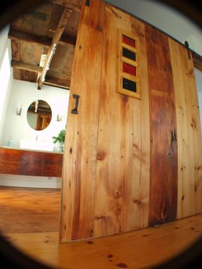 Custom Made Reclaimed Sliding Barn Door, Cabinet And Vanity