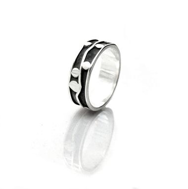 Custom Made Wide Sterling Silver Wedding Band - Black And White Ring - Oxidized Silver - Size 12