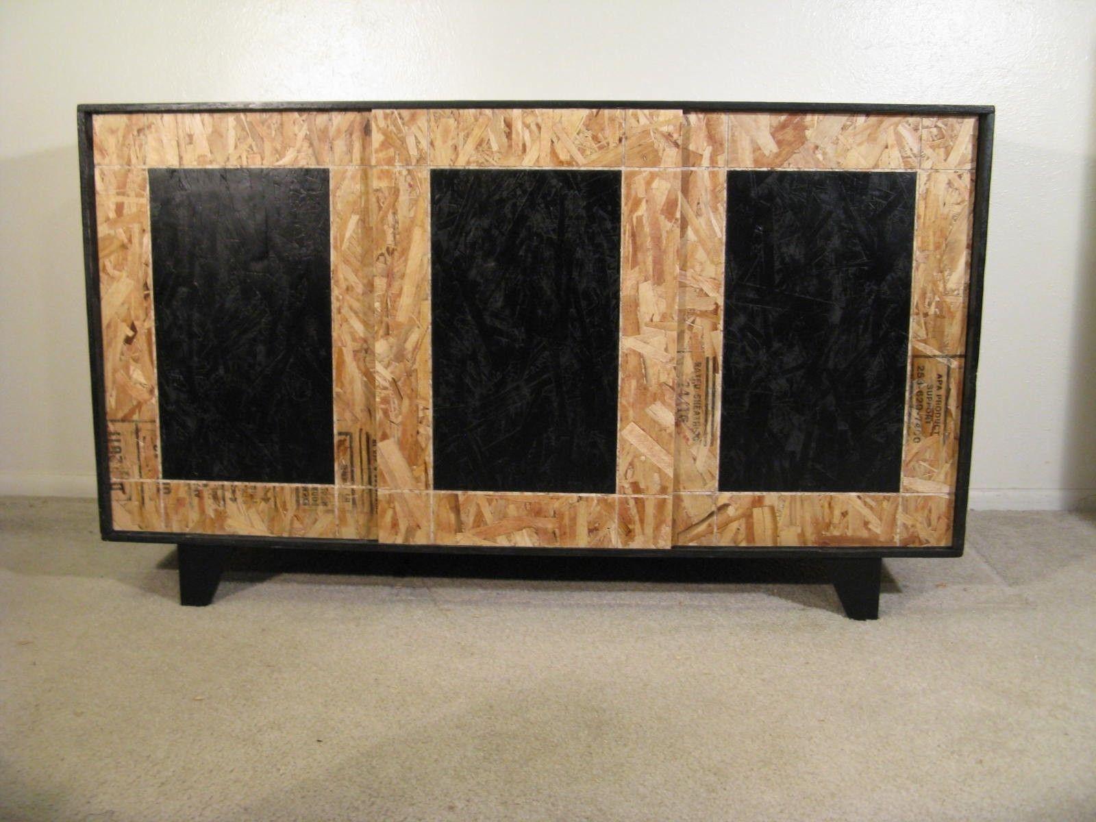 Hand Made Sliding Door Osb Credenza With Hardwood Feet By Modular