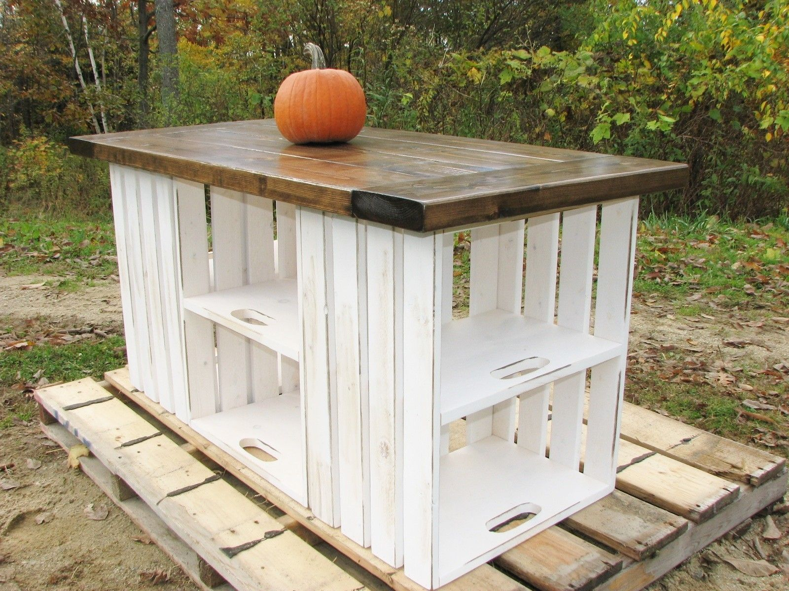 White Hand Crafted Rustic White Country Pallet Kitchen Island