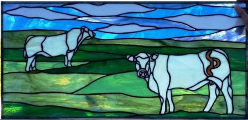 "Custom Made Stained Glass Transom - ""Charolais In The Ranch"" (Tw-40)"