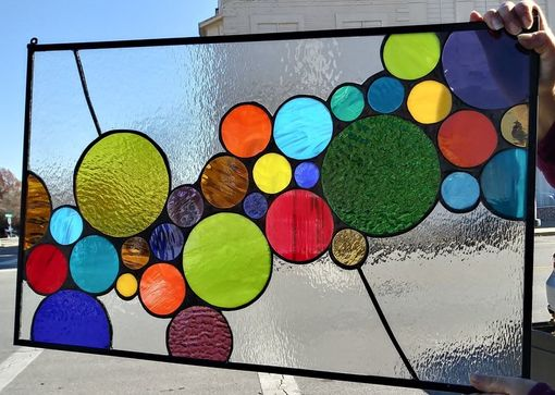 Custom Made P-146 Stained Glass Hanging Panel - Bright Bubbles