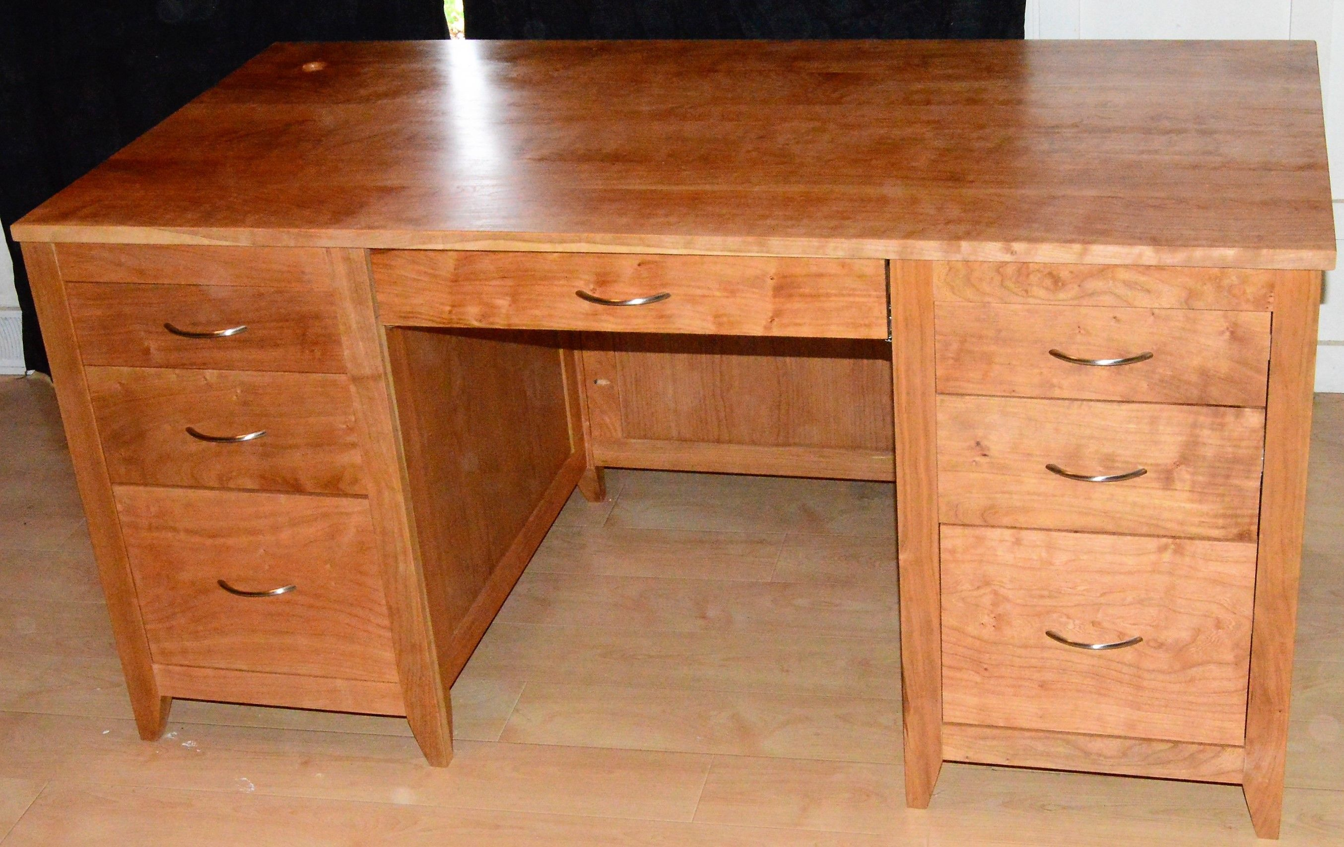 Warm Cherry Executive Desk Home Office Collection: Buy A Handmade Figured Solid Cherry Executive Desk, Made