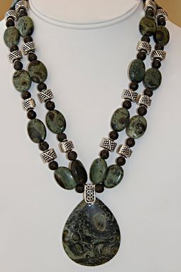 Custom Made 2 Strand Necklace Of Kambala Jasper And Great Nailhead Silver Plate Spacers