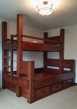 Custom Made Twin Xl Over Queen Bunk Bed With Storage