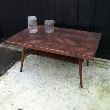 Custom Made Danish Modern Herringbone Coffee Table