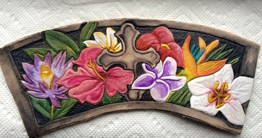 Custom Made Hawaiian Floral Leather Wrist Cuff