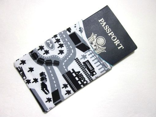 Custom Made Handmade Passport Cover / Sleeve Airport Traffic, Vegan