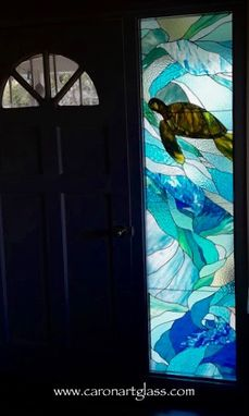 Custom Made Stained Glass Sidelight - Na Honu I Ka Poli O Ke Kai (Turtle In The Heart Of The Sea)