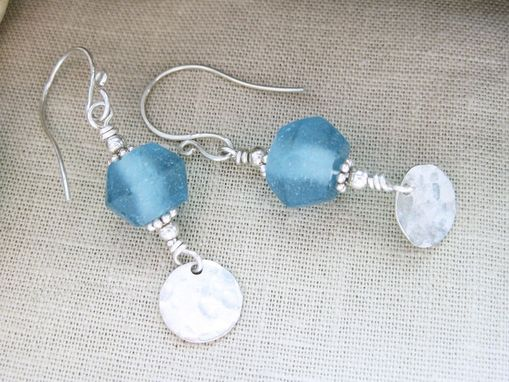 Custom Made Recycled Glass Earrings Blue Dangle Hammer Textured Disc Sterling Silver