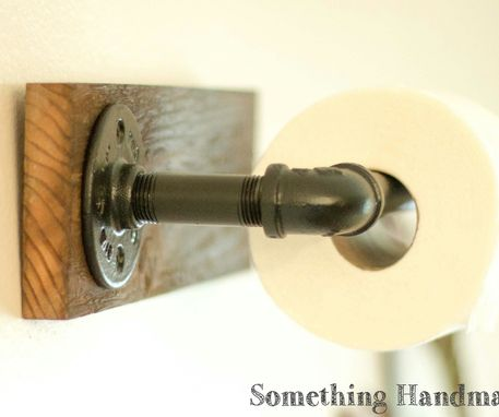 Custom Made Barn Wood Bathroom Toilet Paper Holder  Rustic 100 Year Old Wood And Black Iron