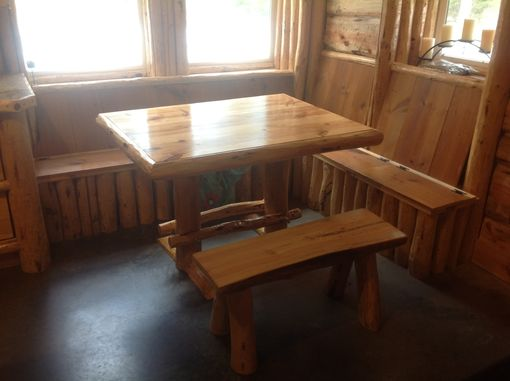 Custom Made Built In Entry Bench , Log Bench & Log Dining Table