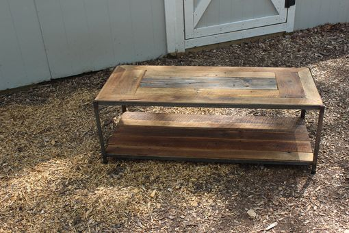 Custom Made Redeemed Barnwood Oak And Steel Table