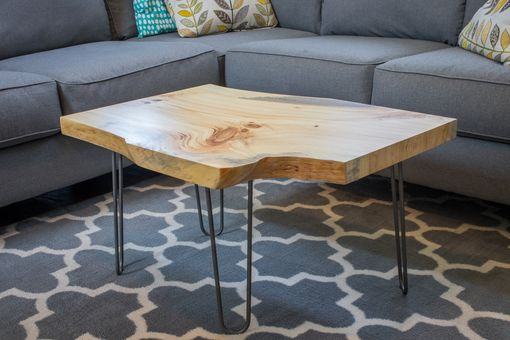Custom Made Live Edge Coffee Table On Hairpin Legs