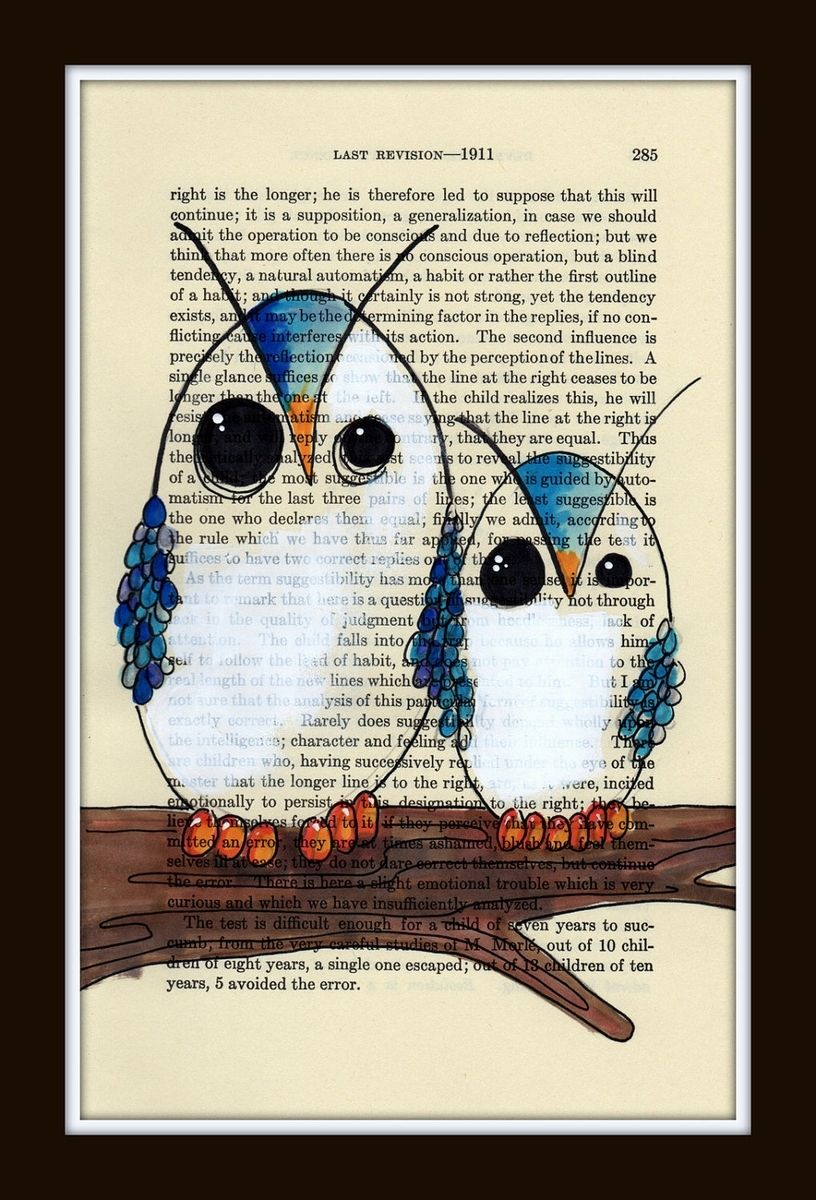 custom made owl poster print big blue owl and little blue owl in