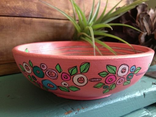 Custom Made Hand Illustrated Wooden Bowl