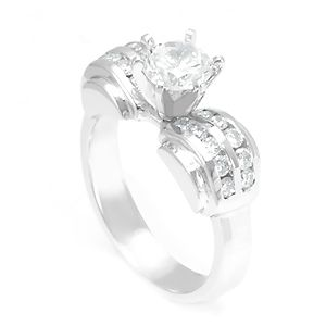 Custom Made Round Diamond Engagement Ring In 14k White Gold, Proposal Ring