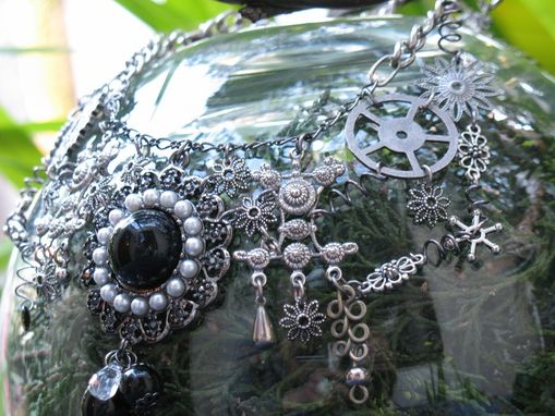 Custom Made Jewelry: Steampunk Necklace: Mechanical Lacework In Silver Tones