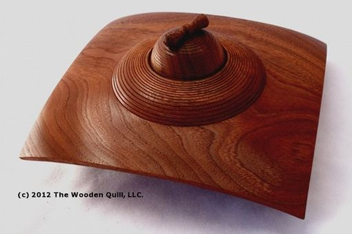 Custom Made Black Walnut Square Winged Bowl And Oil Lamp