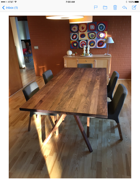 "Custom Made 3'-6"" X 7'-0"" Walnut Dining Table"