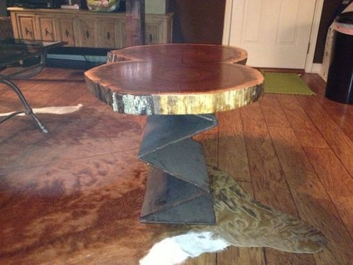 Custom Made Industrial Live Edge Black Walnut And Iron Side Table