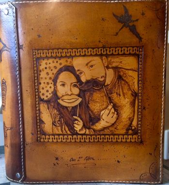 Custom Made Leather Wedding Album/Guest Book Cover With Branded Portrait
