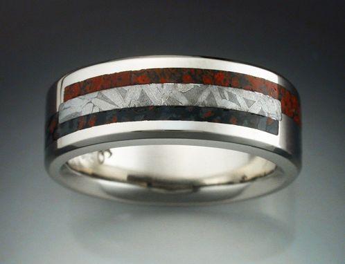 14k white gold tambo meteorite and dinosaur bone ring - Dinosaur Bone Wedding Ring
