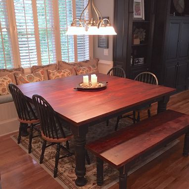 Custom Made Square Style Farmhouse Dining Room Table