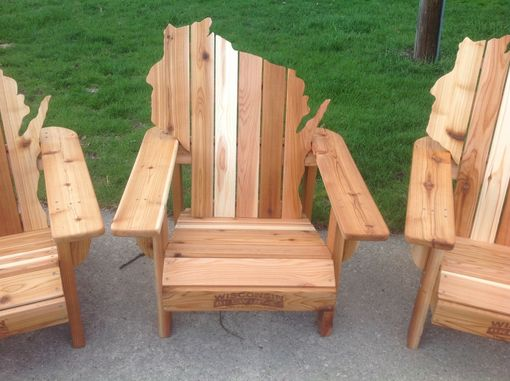Custom Made Cedar Adirondack Wisconsin Chairs With Personalized Laser Engraving.