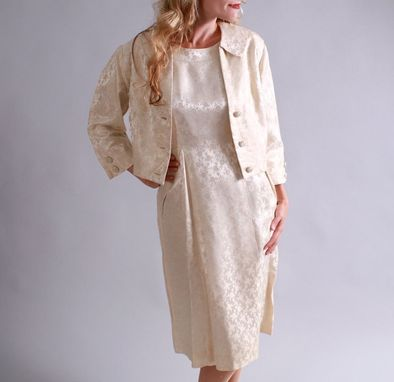 Custom Made 1950s Ivory Silk Dress / 50'S Simple Wedding Dress Suit / Courthouse Wedding