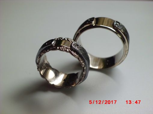 Custom Made Handmade Set Of 14k.White Gold And Blackened Silver Bands With Diamonds
