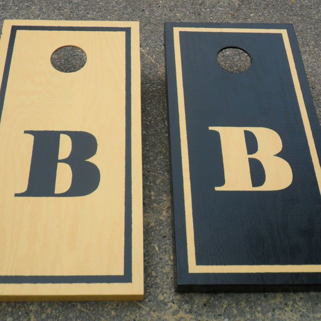 hand crafted personalized monogram custom corn hole baggo bags board game tailgate toss handmade in wisconsin by klocks woodworking custommadecom - Cornhole Design Ideas